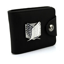 Black color PU leather wallet/purse w/ Anime Attack on titan wings of liberty