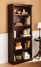 5 Shelf Cherry Bookcase Wooden Book Case Storage Shelves Wood Bookshelf Shelf