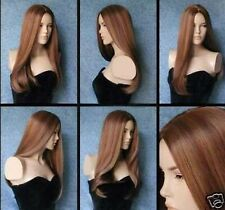 Elegant Long Brown Straight Women's Kanekalon Wigs+Hairnet