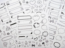 6 pages Korean photo overlay and caption stickers - talk bubbles - super kawaii!
