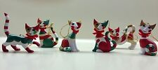 Set of Six Goebel Rosina Wachtmeister Cat Ornaments NIB