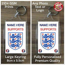 Personalised Custom Photo Large Keyring - I SUPPORT ENGLAND - 2 Sided