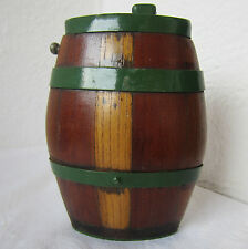 ۞ antique primitive staved pocket WOODEN BARREL CASK KEG FLASK CANTEEN  .. /6/