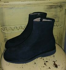 BALLY DENADA ITALY JET BLACK SUEDE FLAT ANKLE BOOTS RIDING LADIES 10 M ZIP SIDE