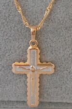 18k Gold layered two tone  jesus on the cross pendant w Necklace Set BBJ110