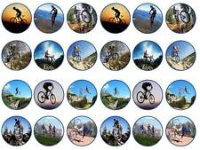 24 CAKE TOPPER CICLISMO MOUNTAIN BIKE BICICLETTA CHIGNON Fairy cupcake decorazioni per party