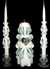 PHOTO Custom hand-carved picture Wedding Unity Candles Set - PERSONALIZED! *WOW*