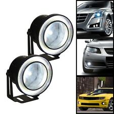 "2x Car 10W High Power 3.5"" Projector LED Fog Light COB WHITE Angel Eyes Rings"