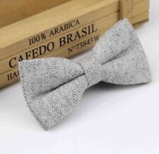 New Vintage Tweed Light Grey Pre-tied bow tie.  Matching Items Available. UK.
