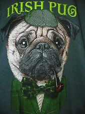 NEW Irish Pug Men's Shirt - Sherlock Holmes Dog Pipe Pub Ireland Lucky LARGE -B8