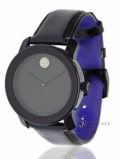 BRAND NEW UNISEX MOVADO (3600345) BLACK PATENT LEATHER CRYSTAL WATCH