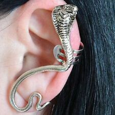 Halloween Scary Silver Snake Cobra Ear Cuff Clip Wrap Stud Earring Gothic Punk