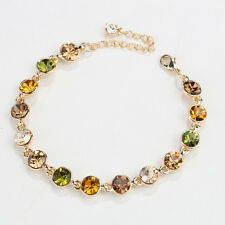 Green Peridot Swarovski Crystal Elements Yellow Gold Plated Adjustable Bracelet