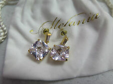 MELANIA TRUMP Goldtone Cushion and Baguette Cut Simulated Diamond Earrings