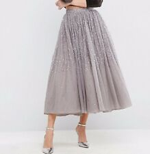 Branded Grey Tulle Prom Women's Skirt with Embellishment UK SIZE 14 42
