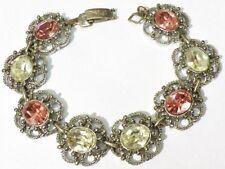 bracelet bijou vintage couleur argent pierre taillé couleur rose diamant * 5263
