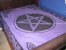 Purple and Black Pentacle Tapestry,  bedspread, table cloth, wall hanging