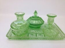 Vintage Green Art Deco Pressed Glass 6 Piece Vanity Tray Set (BOX 17)