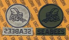 USN Navy SEABEES 4 inch pocket patch OD Green & Black