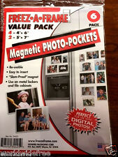6 Pack Freezer Magnetic Mount Frame Set Photo Picture Pocket Hold Metal Surface