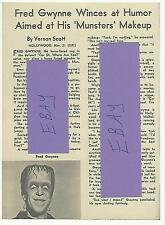 COPY 1964 FRED GWYNNE THE MUNSTERS TV GUIDE ARTICLE  AKA HERMAN MUNSTER COPY