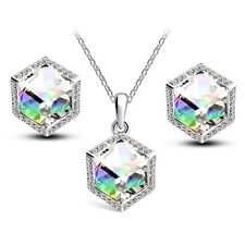 White AB Crystal Rainbow Cube Women Jewellery Set Stud Earrings & Necklace S859