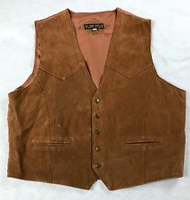 Don't Stop Classics Men's Size XL Suede Vest Brown Western Snap Up Leather D13