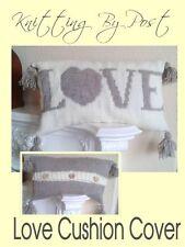 KNITTING PATTERN Love Cushion Cover.  New Design. Aran Yarn.