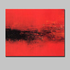 Large Handpainted Red Abstract Landscape Oil Painting On Canvas Wall Art Picture