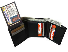 BLACK MENS GENUINE LEATHER ID WINDOW THIN TRIFOLD WALLET FLAP TOP  9+ CARDS L26