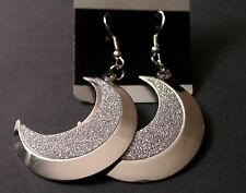 Lightweight Silver Crescent Moon Sparkle Earrings w/Free Jewelry Box and Ship