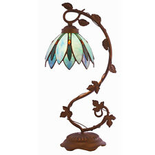 "20.75"" LOTUS FLOWER TIFFANY STYLE TABLE LAMP STAINED GLASS #15534 BLUE"