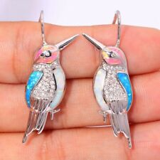 Beautiful Sterling Silver Fire Opal & CZ Bird Earrings