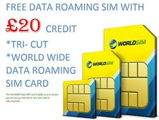 Worldsim dati SIM card-travel card-roaming sim-pay come lei go-lowest tassi £ Av 20