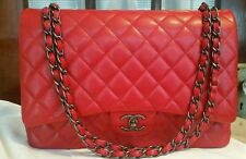 Chanel Red Caviar Maxi Handbag