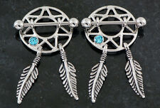 Pair 316L surgical steel w/ aqua C.Z. dream catcher nipple shields 14g 3/4""