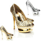 NEW WOMENS LADIES HIGH HEEL EVENING PARTY WEDDING DOUBLE PLATFORM SHOES SIZE