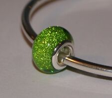 LIGHT APPLE GREEN GLITTER SPARKLY BEAD Silver European Charm for Bracelet