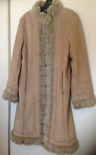 Winter Weatherproof Warm Long Coat Faux Fur Beige Sz S