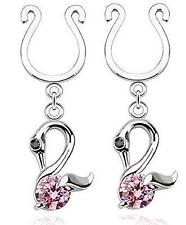 Nipple Rings non pierce pair Clip On Nipple Ring Swan Dangle with Single CZ