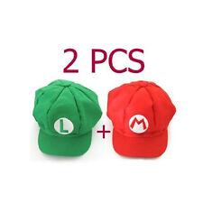 2pcs Super Mario Bros Hat Mario Luigi Cap Cosplay Red Green DI