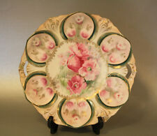 "RS Prussia cake plate, Mold 78, 11"", pink poppies, Wreath & Star logo, 1905-1910"