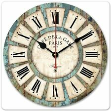 "New 13.4"" Vintage France Paris French Country Tuscan Style Paris Wood Wall Clock"