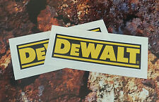 x 2 DEWALT STICKERS 90MM X 30MM TOOL BOXES,CARS,VANS.GARAGE