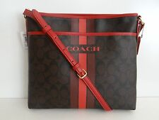 Coach Womens Blk/Red PVC Varsity File Crossbody Bag F38402 SALE Free Shipping