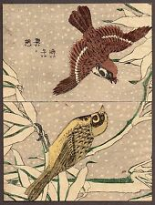 Set of 22 antique ca 1890 China prints traditional laid paper plants birds crab