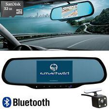 32GB Bluetooth Android Rearview Mirror GPS Navi Backup Camera DVR Smartwild W870