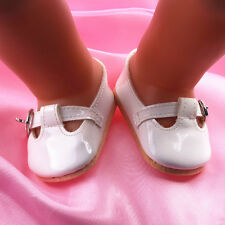 White Leather shoes dolls fit 43cm Baby Born zapf Handmade Doll shoesb682