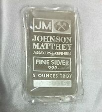 JOHNSON MATTHEY 5 OZ .999 FINE SILVER BAR INGOT BULLION RARE JM