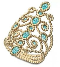 Swarovski Azore Blue Crystal Gold Plated Filigree Ring - Size 6 MSRP $125